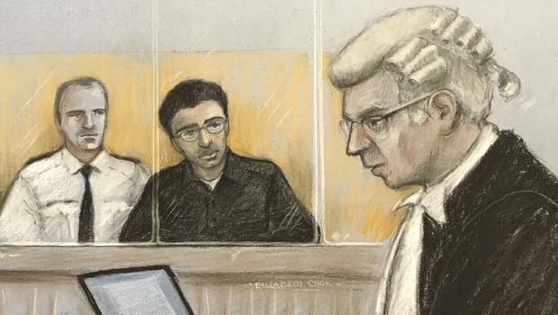 Court artist sketch dated 27/01/20 by Elizabeth Cook of Duncan Penny QC (prosecution) on his feet as Hashem Abedi, younger brother of the Manchester Arena bomber, sits in the dock at the Old Bailey (Elizabeth Cook/PA)