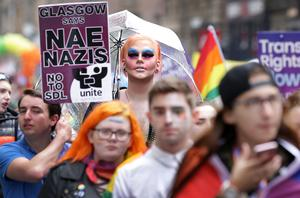 An anti-Nazi message is displaye at the Pride Glasgow parade (David Cheskin/PA)