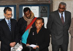 Stephen Lawrence's mother Doreen Lawrence alongside Stephen's father Neville, right, and brother Stuart, second left, outside the Old Bailey in 2012 (Dominic Lipinski/PA)