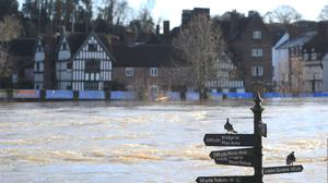 Flood defences in Bewdley, Worcestershire, as the River Severn remains high, with warnings of further flooding across the UK (Joe Giddens/PA)