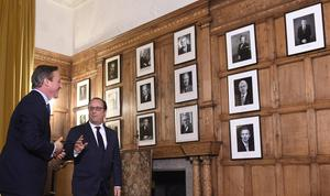 Photos of former prime ministers hang in the Great Parlour at Chequers (Facundo Arrizabalaga/PA)