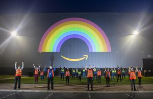 Amazon showed its thanks to the nations' key workers by lighting up its buildings around the country, including a giant rainbow projection at the Fulfilment Centre in Doncaster (Danny Lawson/PA)