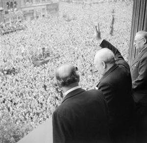 Winston Churchill as he addresses the crowd in Whitehall in 1945 (Imperial War Museum/PA)