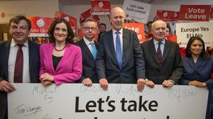 John Whittingdale, Theresa Villiers, Michael Gove, Chris Grayling, Iain Duncan Smith and Priti Patel attend the launch of the Vote Leave campaign at the group's headquarters in central London