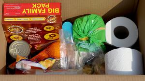 One of the food parcels being delivered to the most clinically vulnerable (PA)