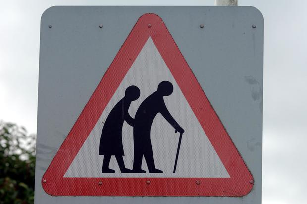 A road sign featuring elderly people (Sean Dempsey/PA)