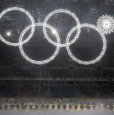 One of the rings forming the Olympic Rings fails to open during the opening ceremony of the 2014 Winter Olympics in Sochi (AP)