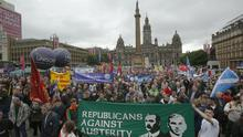 Protesters at the Scotland United Against Austerity rally held in George Square, Glasgow