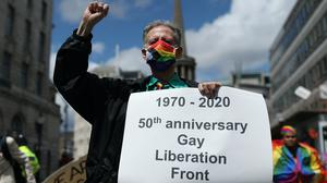 Peter Tatchell leads a march through London to mark the London Gay Liberation Front's 50th anniversary (Yui Mok/PA)