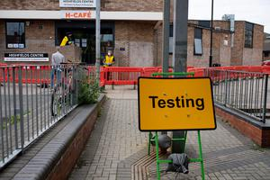 A Covid-19 testing centre set up at Highfields Community Centre in Leicester (PA)