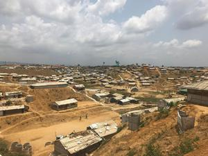 In the case of the Rohingya refugee camp at Cox's Bazar in Bangladesh, there are 40,000 people per square kilometre (Jemma Crew/PA)