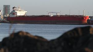 The Nave Andromeda oil tanker docked in Southampton (Andrew Matthews/PA)
