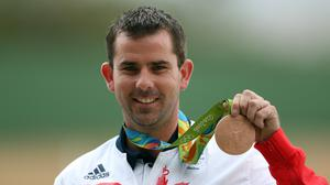 Great Britain's Ed Ling with his bronze medal following the Men's Trap Final