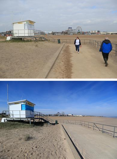 Composite of photos of the seafront in Skegness, Lincolnshire, taken on 23/03/21 (top) and the same view on 24/03/20 (bottom) (Mike Egerton/PA)