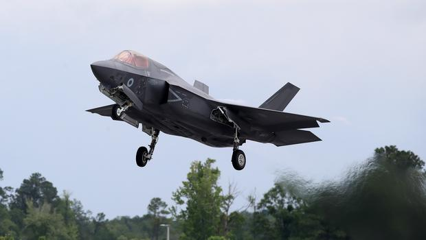 An RAF F35 B Variant takes off from Beaufort US Marines Air Base (Peter Byrne/PA)