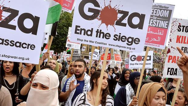 Protesters gather in Trafalgar Square to call for an end to Israeli military action in Gaza