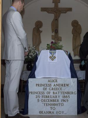 The Duke of Cambridge previously visited the Church of St Mary Magdalene where he paid his respects at the tomb of his great-grandmother, Princess Alice, who helped save Jewish lives (Arthur Edwards/PA)