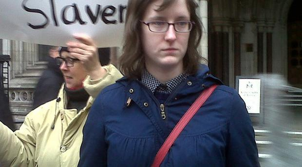 Cait Reilly outside the High Court after she won an appeal ruling that a back-to-work scheme requiring her to work for free at a store was unlawful