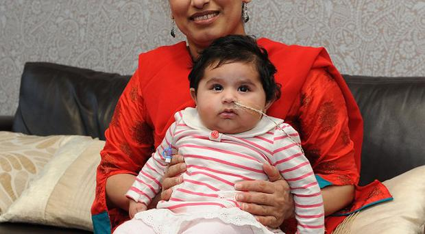 Habul Khatoon and her mother Fahmeeda at Birmingham Children's Hospital