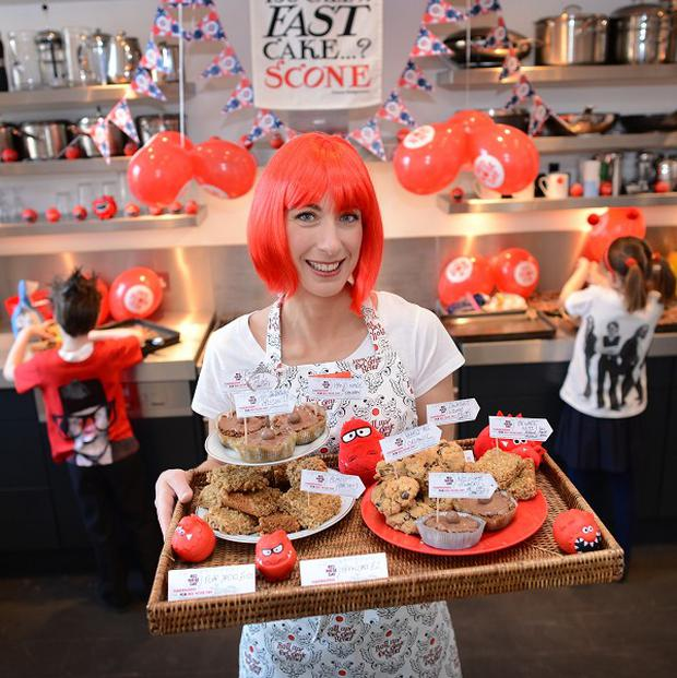 Samantha Cameron bakes cakes for Comic Relief in Downing Street