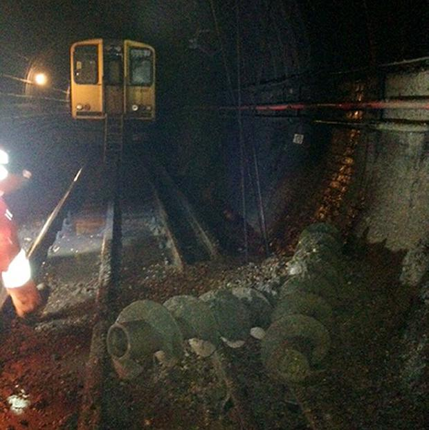 Two large piling drills came through a tunnel wall on the Moorgate to Finsbury Park Northern City line (First Capital Connect/PA)