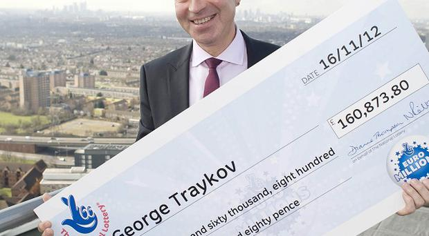 George Traykov celebrates his second win on the EuroMillions