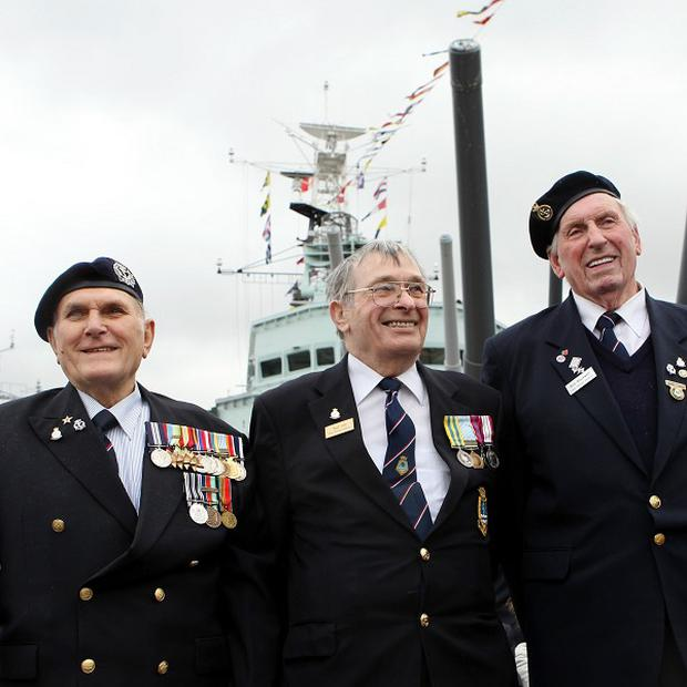 HMS Belfast crew veterans, Peter Tucker DSM, Ted Hill and Lofty Blackwell