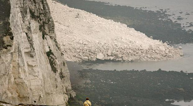 A 2012 collapse between Langdon Cliffs and South Foreland Lighthouse left a pile of rocks below the famous White Cliffs of Dover