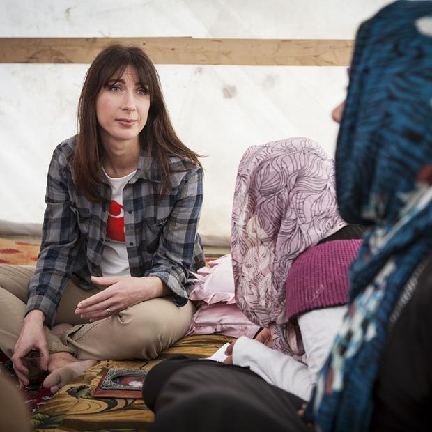 Samantha Cameron visited refugees fleeing the civil war in Syria