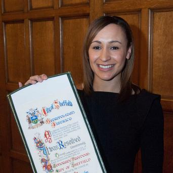 Jessica Ennis said a 'big thank you to the people of Sheffield' after being granted the freedom of the city