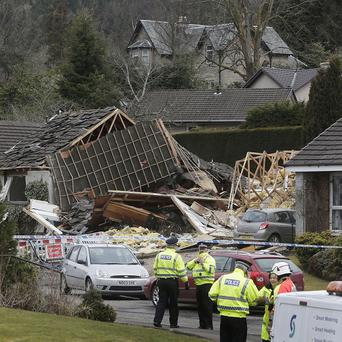 The scene following an explosion on Murdiston Avenue in Callander, near Stirling