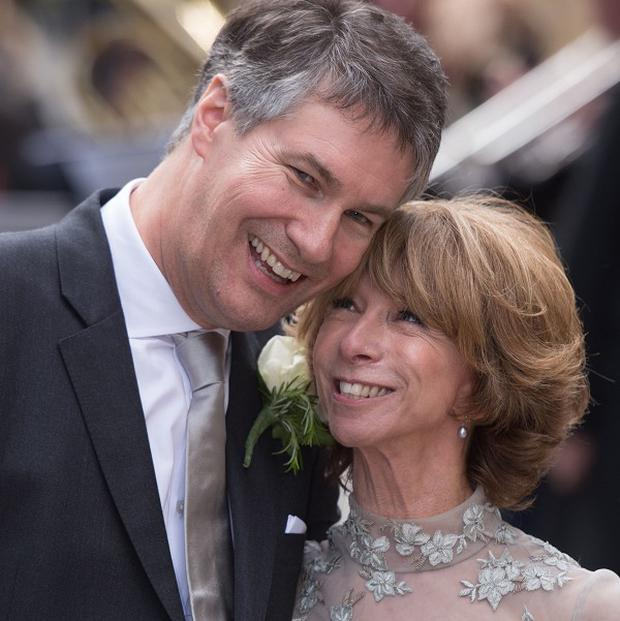 Coronation Street actress Helen Worth with her husband Trevor Dawson following their wedding ceremony