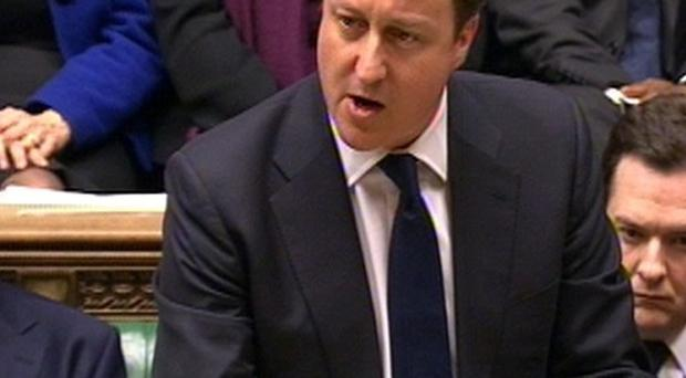 Prime Minister David Cameron speaks during a tribute to Baroness Margaret Thatcher in the House of Commons