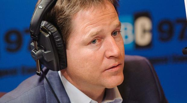 Deputy Prime Minister Nick Clegg during the Call Clegg show, on LBC 97.3 radio