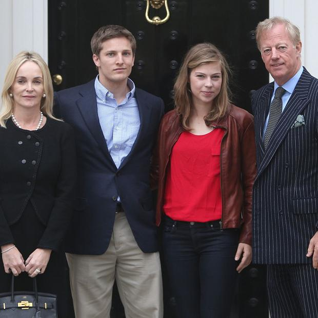 Mark Thatcher (right) with (left to right) wife Sarah, son Michael and daughter Amanda outside the home of his late mother, Margaret Thatcher