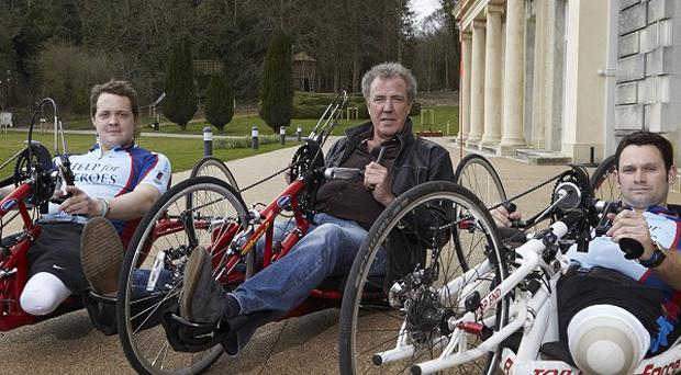 Corporal Josh Boggi, Jeremy Clarkson and Staff Sergeant Steve Arnold at Tedworth House to support Hero Ride (Roger Kelly/PA)