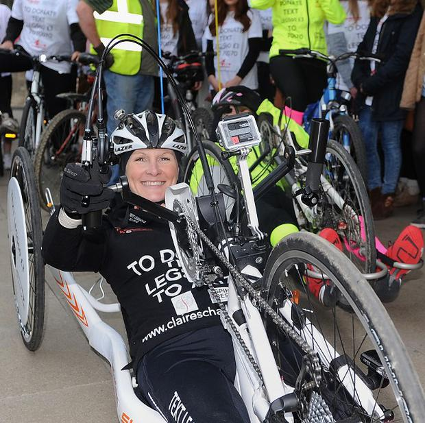 Claire Lomas sets off from Nottingham Trent University on her challenge to complete the equivalent of a marathon a day on a hand bike