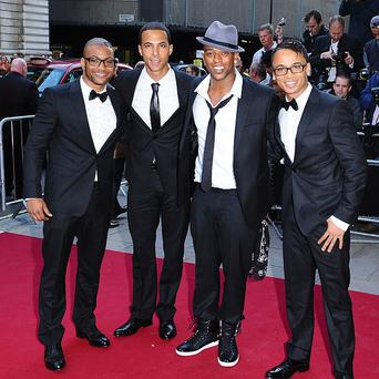JLS band members Aston Merrygold, Marvin Humes, JB Gill and Oritse Williams