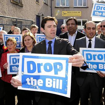 Shadow health secretary Andy Burnham leads the Drop the Bill Protest against the proposed changes to the NHS