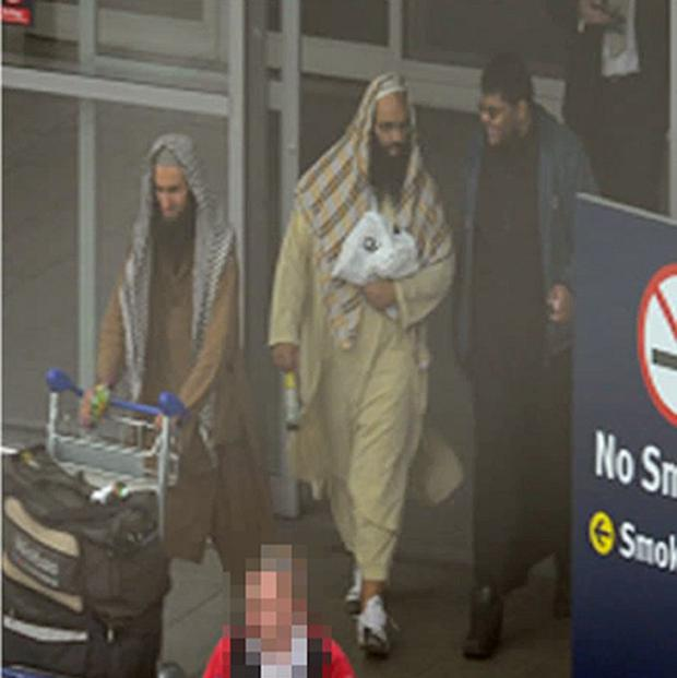 West Midlands Police photo of Irfan Nasser, Rahin Ahmed and Irfan Khalid at Birmingham Airport