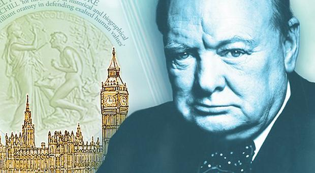 The new 5 pound note featuring Sir Winston Churchill, which is due to be issued in 2016