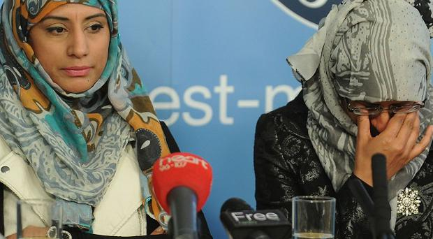Shazia Khan, left, and Nazia Maqsood make an appeal over the fatal stabbing of their father Muhammed Saleem in Birmingham