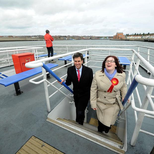 Emma Lewell-Buck pictured with Labour leader Ed Miliband during campaigning in South Shields