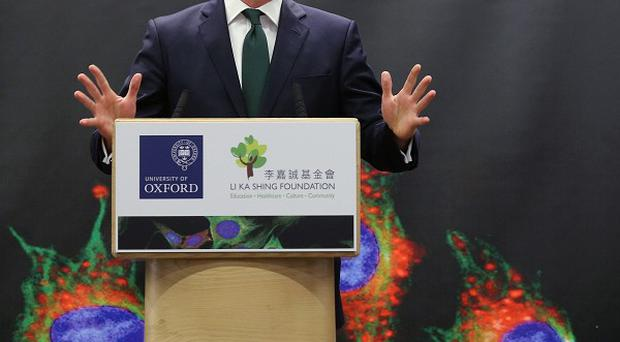 Prime Minister David Cameron speaks at the newly opened Li Ka-shing Centre for Health Information and Discovery at Oxford University