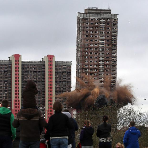 A 30-storey building at Birnie Court was brought down by around 88kg of explosives