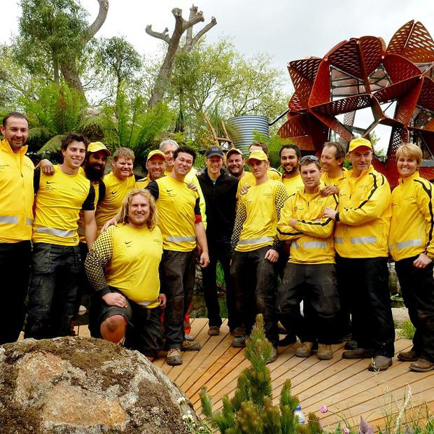 Prince Harry meets the creators of the Trailfinders Australian Garden at the Chelsea Flower Show