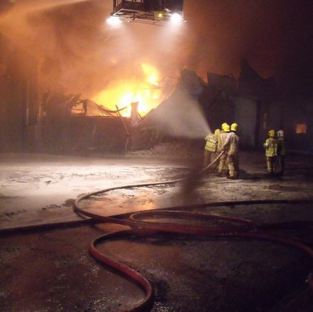 Firefighters are tackling a blaze at a cooking oil recycling centre in Stourport-on-Severn (Hereford and Worcester Fire and Rescue/PA)