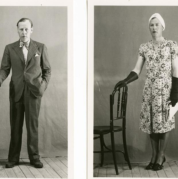 Lieutenant Colonel Dudley Clarke photographed by Spanish police dressed as a man and as a woman (National Archives/PA)
