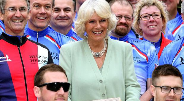 The Duchess of Cornwall with some of the Help for Heroes cyclists