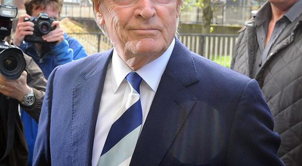 Coronation Street actor Bill Roache arrives at Preston Magistrates' Court for an earlier hearing